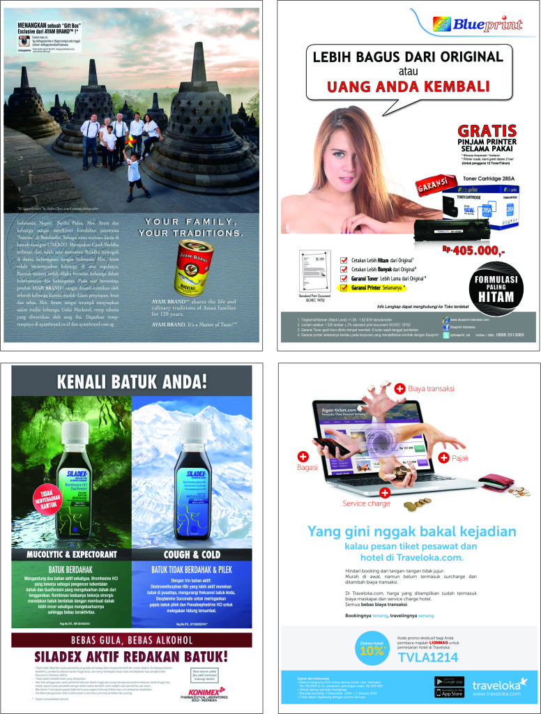 Contoh pemasangan iklan produk & jasa di majalah