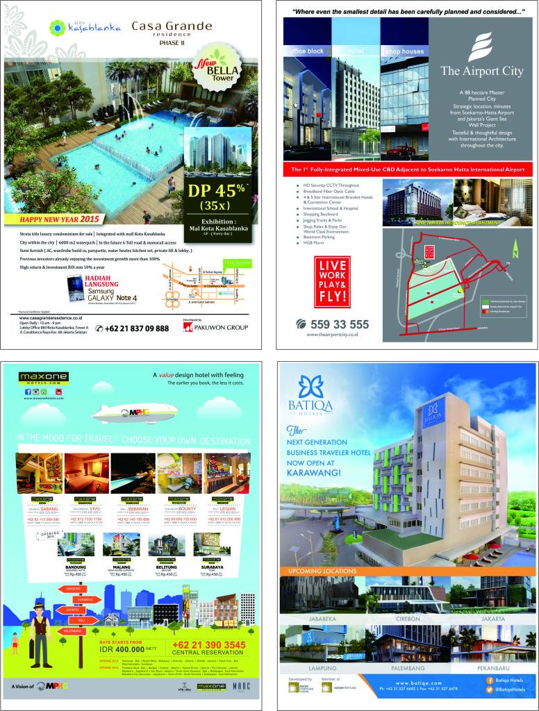 Contoh pemasangan iklan properti & hotel di majalah
