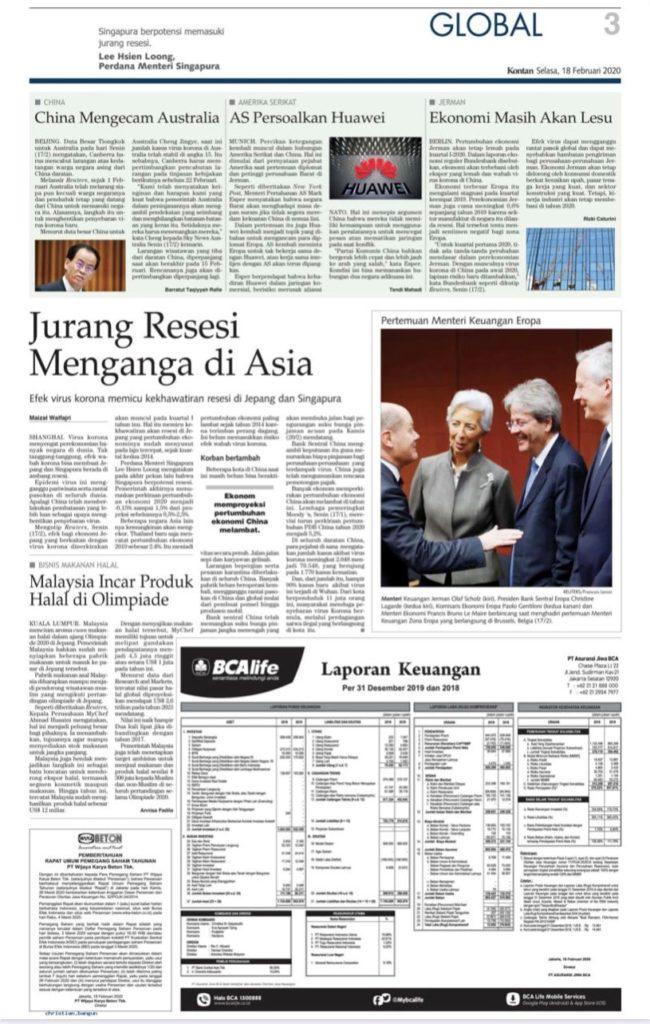 Iklan Laporan Keuangan di Koran Kontan